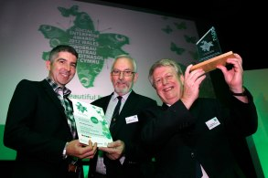 Wales Co-operative Centre Chief Executive Derek Walker , with Mac McCarthy and Barry Roberts from the North Wales Credit Union, Social Enterprise Start Up of the Year Winner