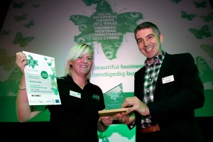 Kelly Davies, Managing Director, Viability , Conwy; winner of the Social Enterprise Leader of the Year award with Wales Co-operative Centre Chief Executive Derek Walker