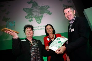 Anna Chard, St Illtyds Communities First Partnership , Abertillery, Social Enterprise Supporter of the Year Winner, Wales Co-operative Centre Operations Director Nia Wright Morgan and Wales Co-operative Centre Chief Executive Derek Walker