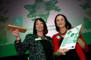 Sharon Jones, Chief Executive , Crest Co-operative ,Llandudno Junction, Social Enterprise of the Year Winner with Wales Co-operative Centre Operations Director Nia Wright Morgan