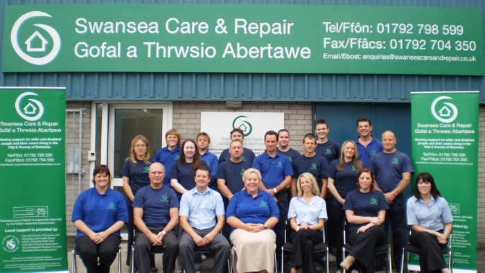 A photo of the Care & Repair Swansea staff team