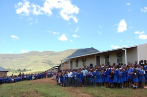 Greeted by schoolchildren in Lesotho, where we supported community enterprises last year.