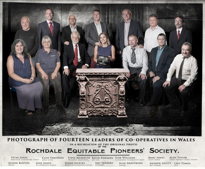 The Modern Pioneers Back row (L to R)  Peter Jones (Wrexham Supporters' Trust), Cliff Vanstone (John Lewis), Steve Meredith (PrimePac Solutions), Kevin Edwards (AFS Ltd), Ivor Williams (Llanmadoc Community Shop), Marc Jones (Saith Seren), Alun Taylor (Smart Money Credit Union) Front row (L to R) Alison Banton (Dulas), June Jones (Co-operative Group), David Jenkins (Wales Co-operative Centre), Amy Sanders (Dynamix), Alan Armstrong (Barod), Andrew Lycett (RCT Homes), Cris Tomos (4CG)